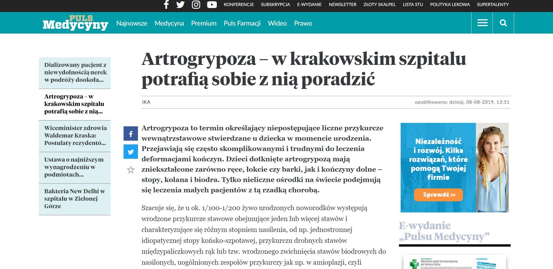 Artrogrypoza – w krakowskim szpitalu potrafią sobie z nią poradzić