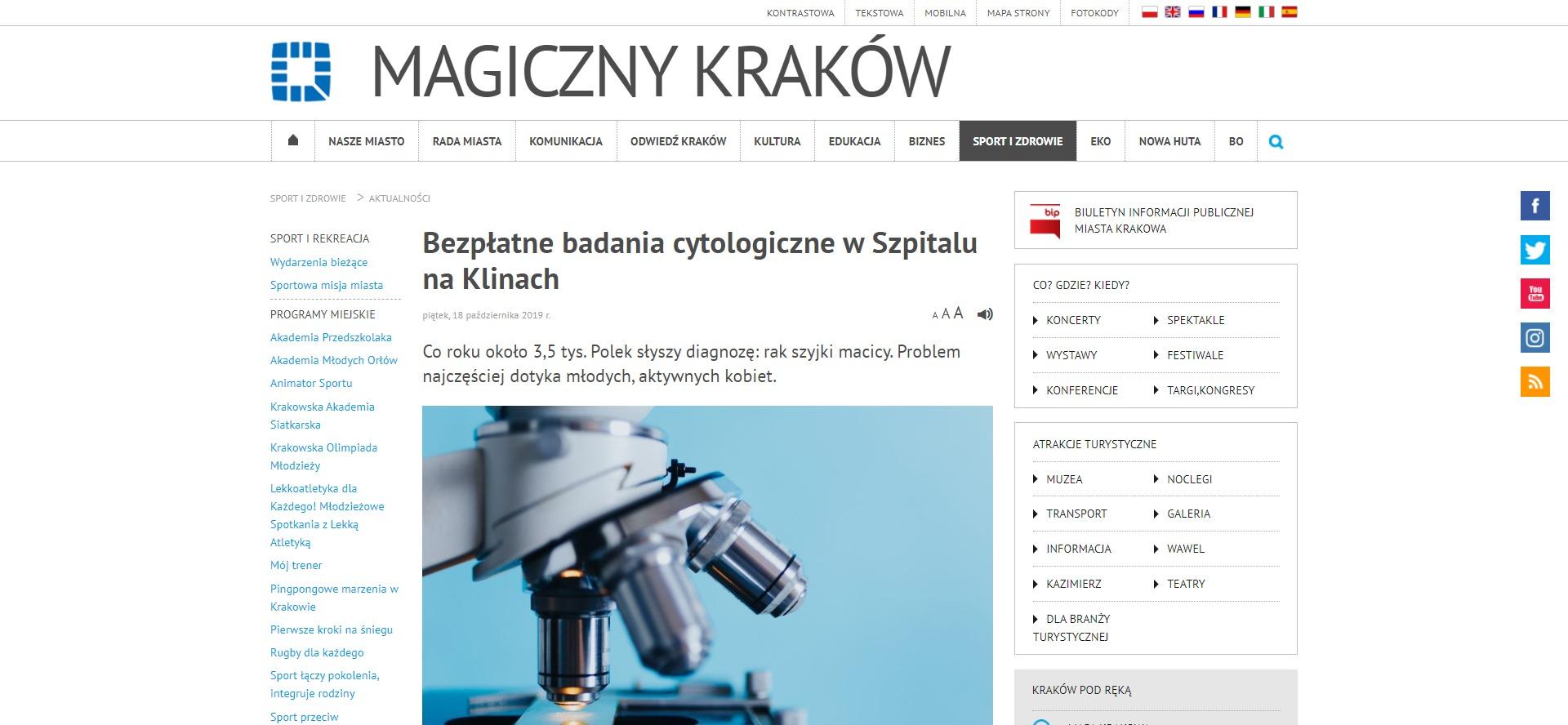 Bezpłatne badania cytologiczne w Szpitalu na Klinach
