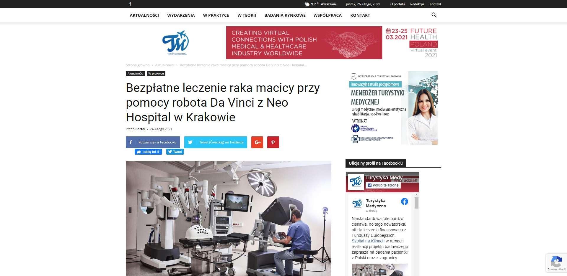 bezplatne leczenie raka macicy przy pomocy robota da vinci z neo hospital w krakowie