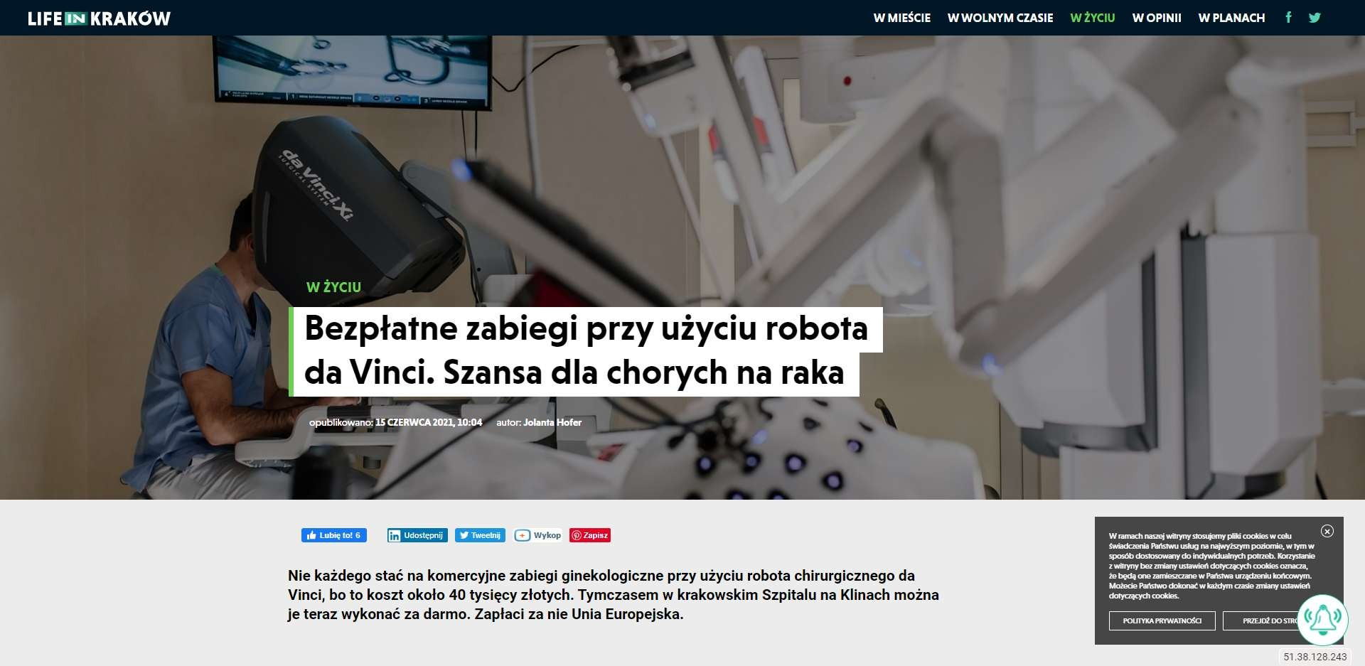 bezplatne zabiegi przy uzyciu robota da vinci szansa dla chorych na raka