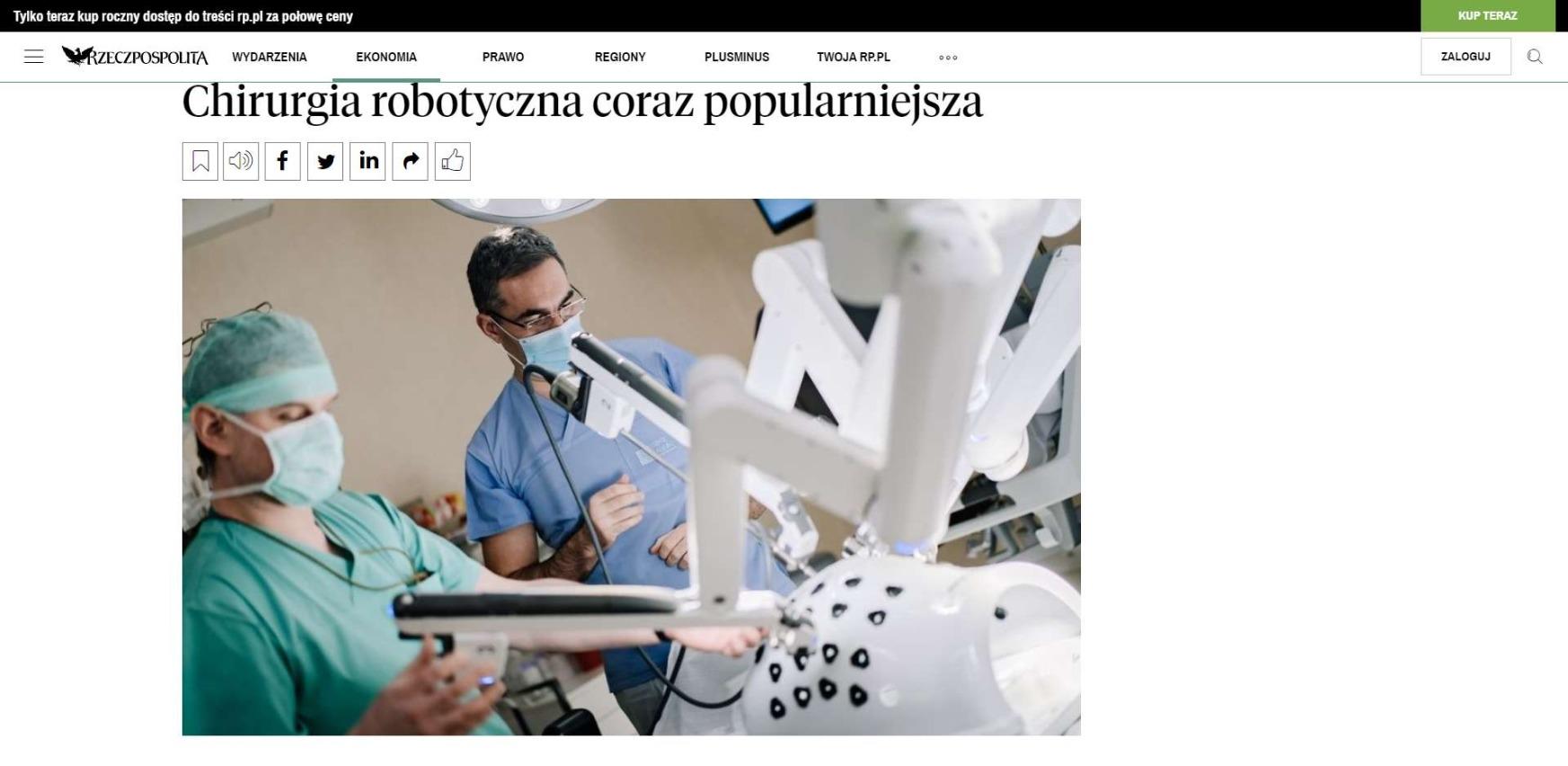 chirurgia robotyczna coraz popularniejsza