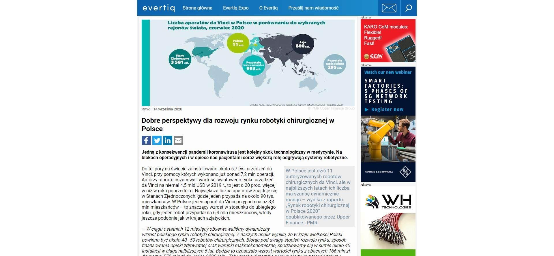 dobre perspektywy dla rozwoju rynku robotyki chirurgicznej w polsce