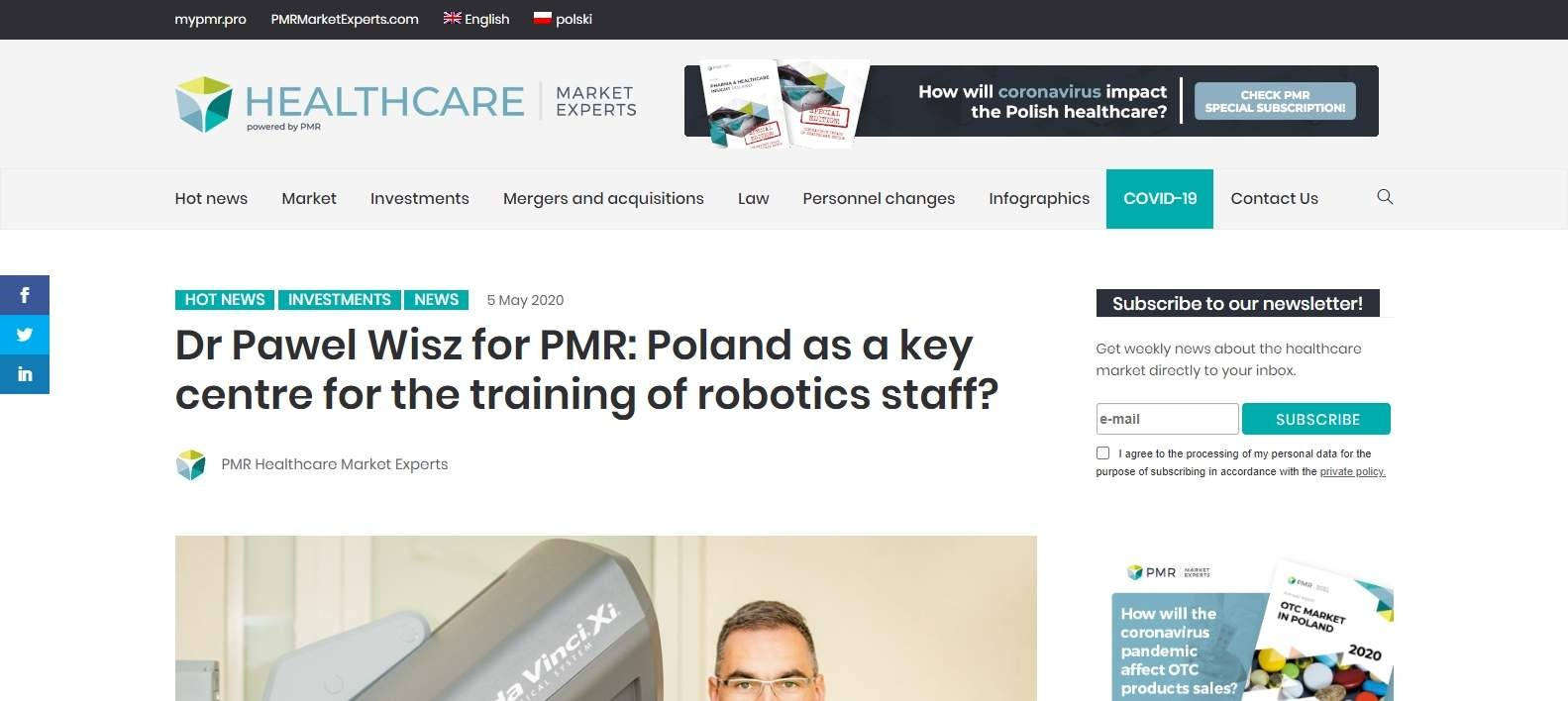 dr pawel wisz for pmr poland as a key centre for the training of robotics staff
