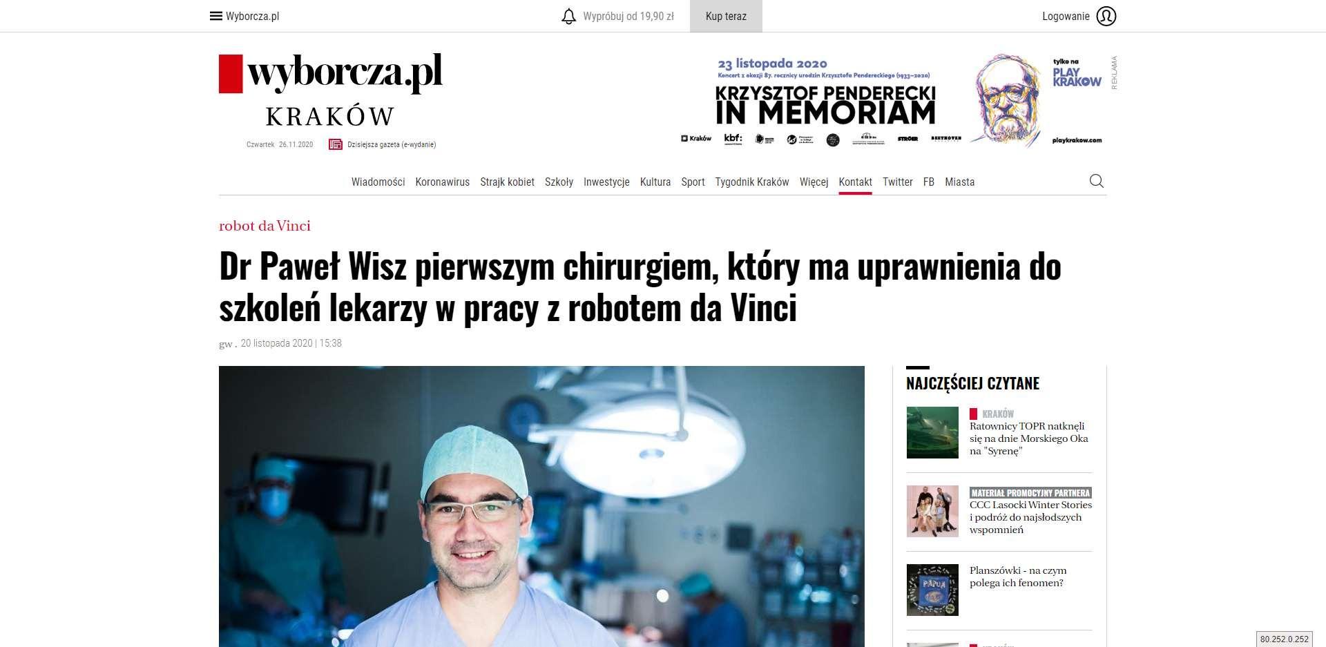 dr pawel wisz pierwszym chirurgiem ktory ma uprawnienia do szkolen lekarzy w pracy z robotem da vinci