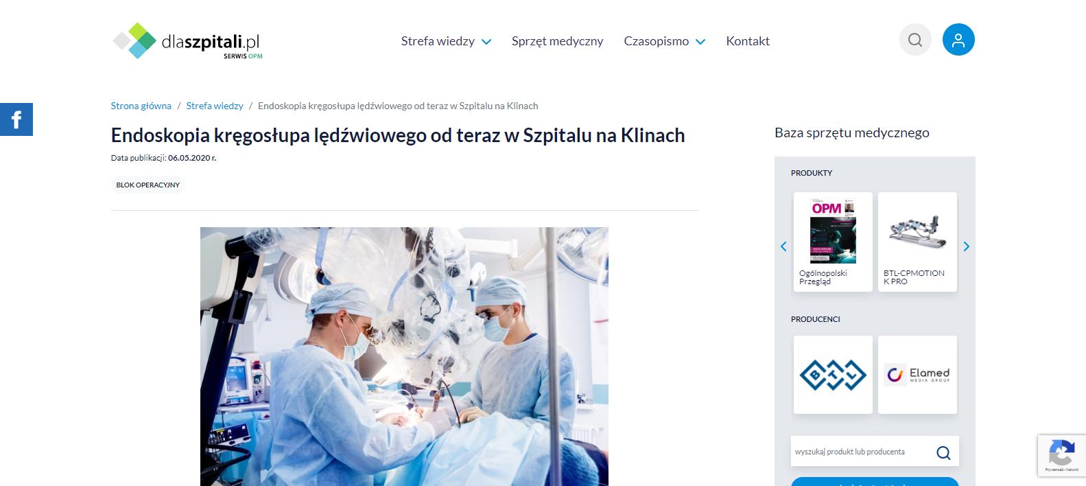Endoskopia kręgosłupa lędźwiowego od teraz w Szpitalu na Klinach