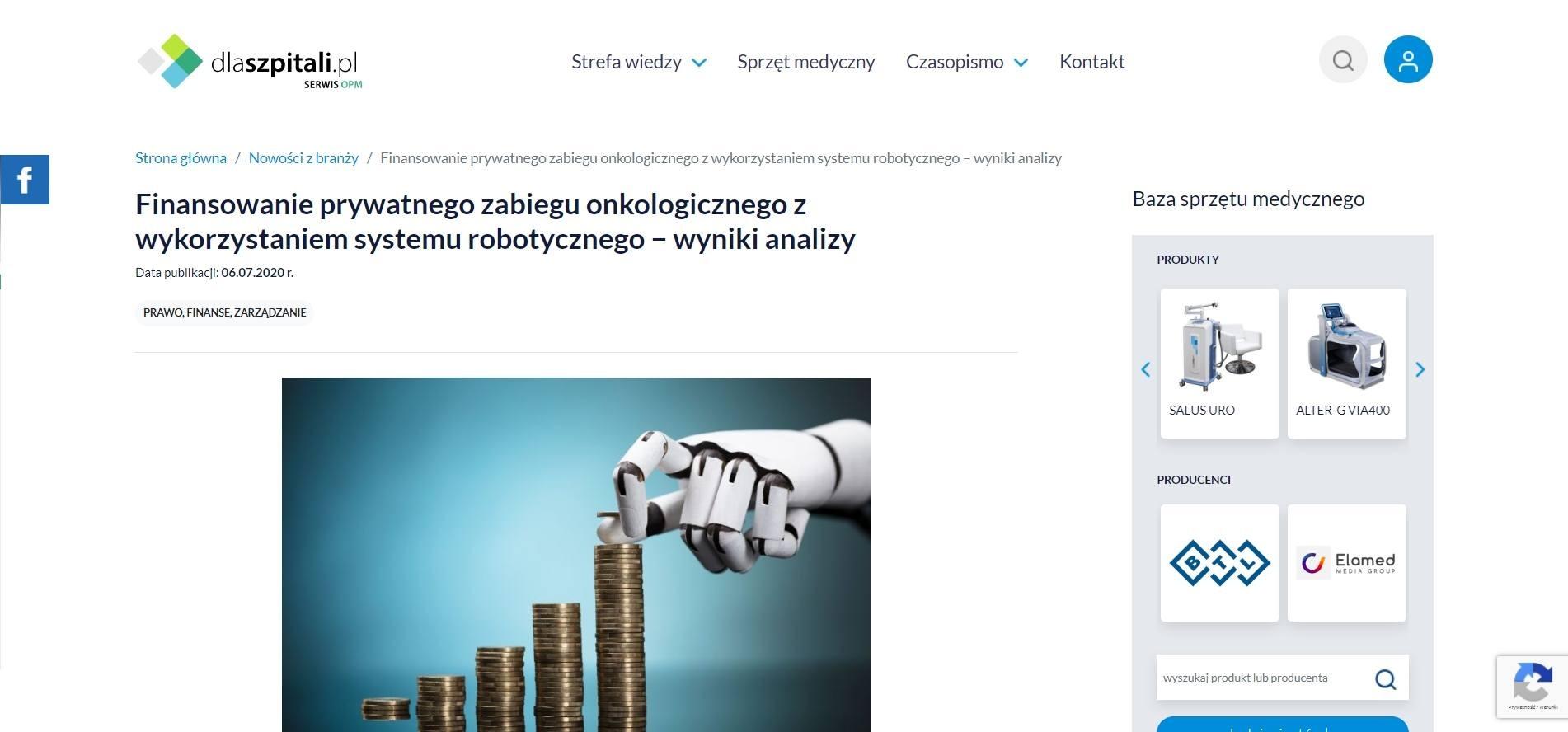 finansowanie prywatnego zabiegu onkologicznego z wykorzystaniem systemu robotycznego wyniki analizy