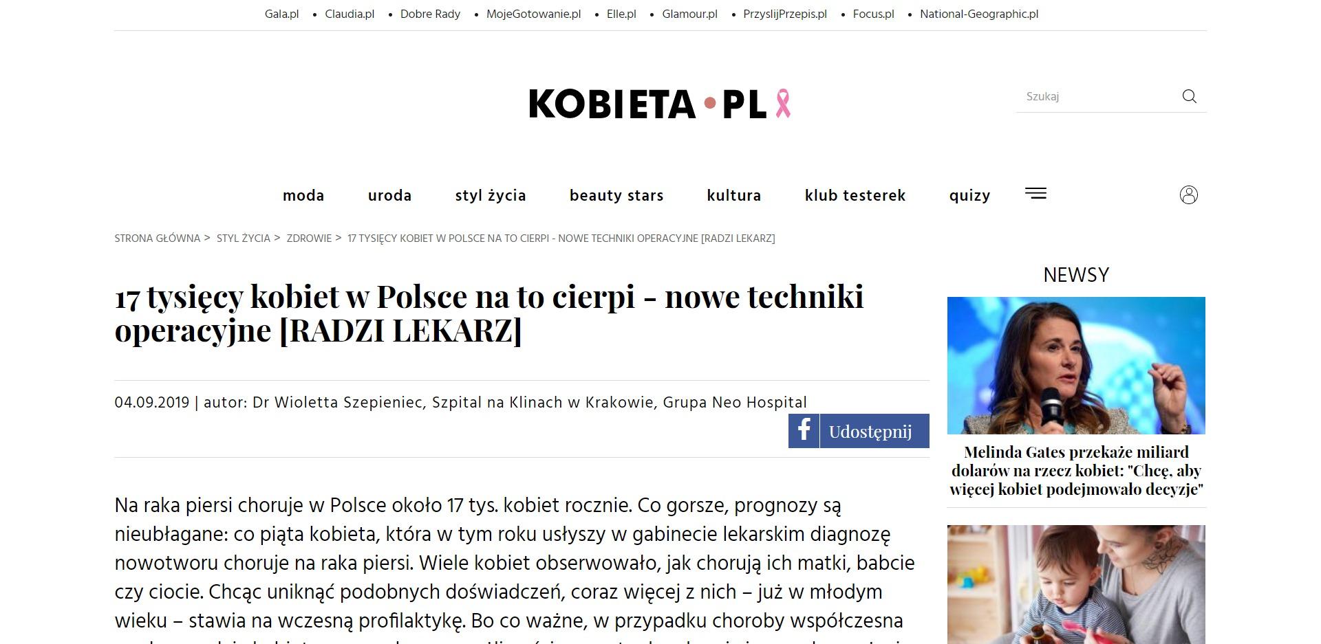 Nowe techniki operacyjne raka piersi_ problem dotyczy 17 tysięcy kobi_ - www.kobieta.pl