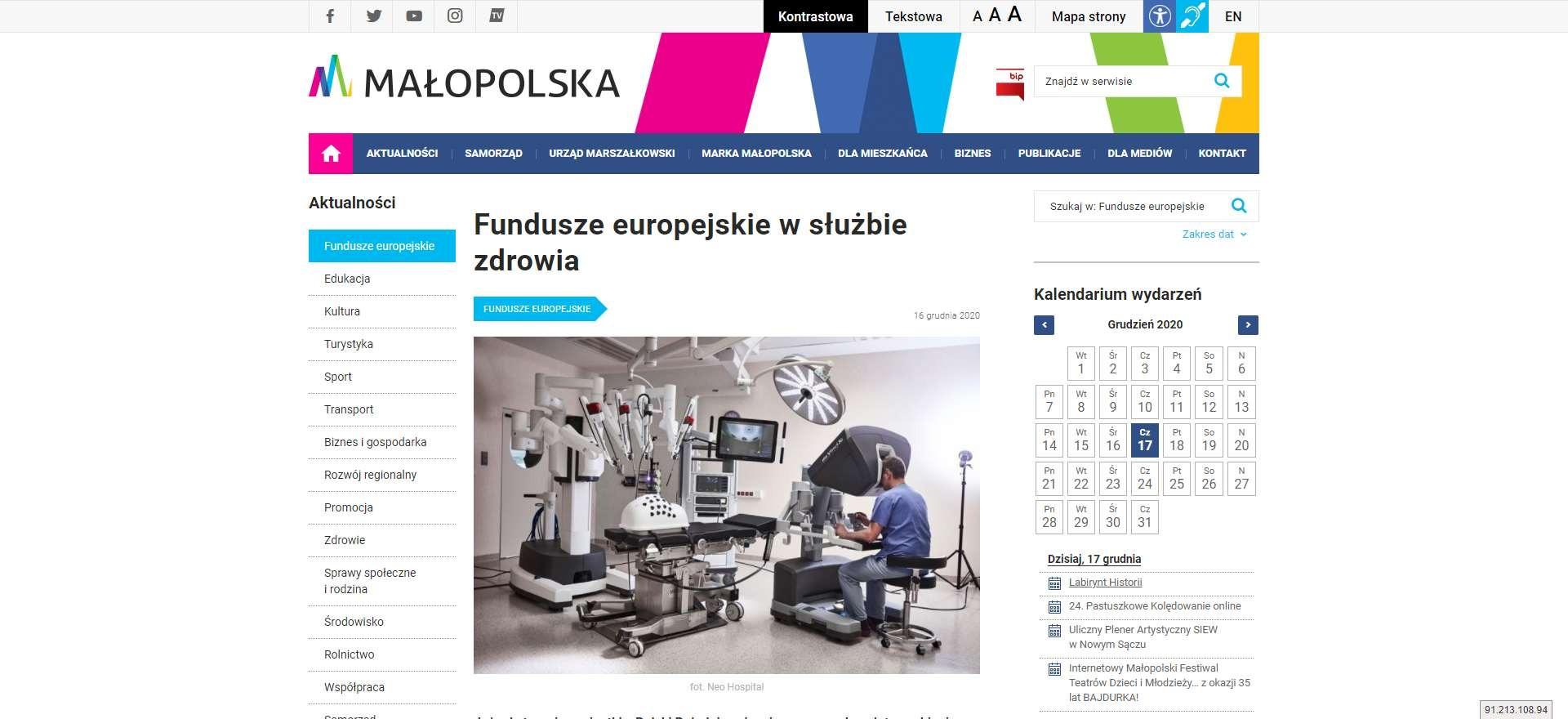 fundusze europejskie w sluzbie zdrowia