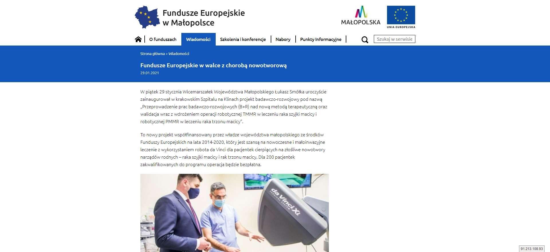 fundusze europejskie w walce z choroba nowotworowa