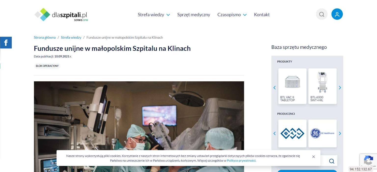fundusze unijne w malopolskim szpitalu na klinach