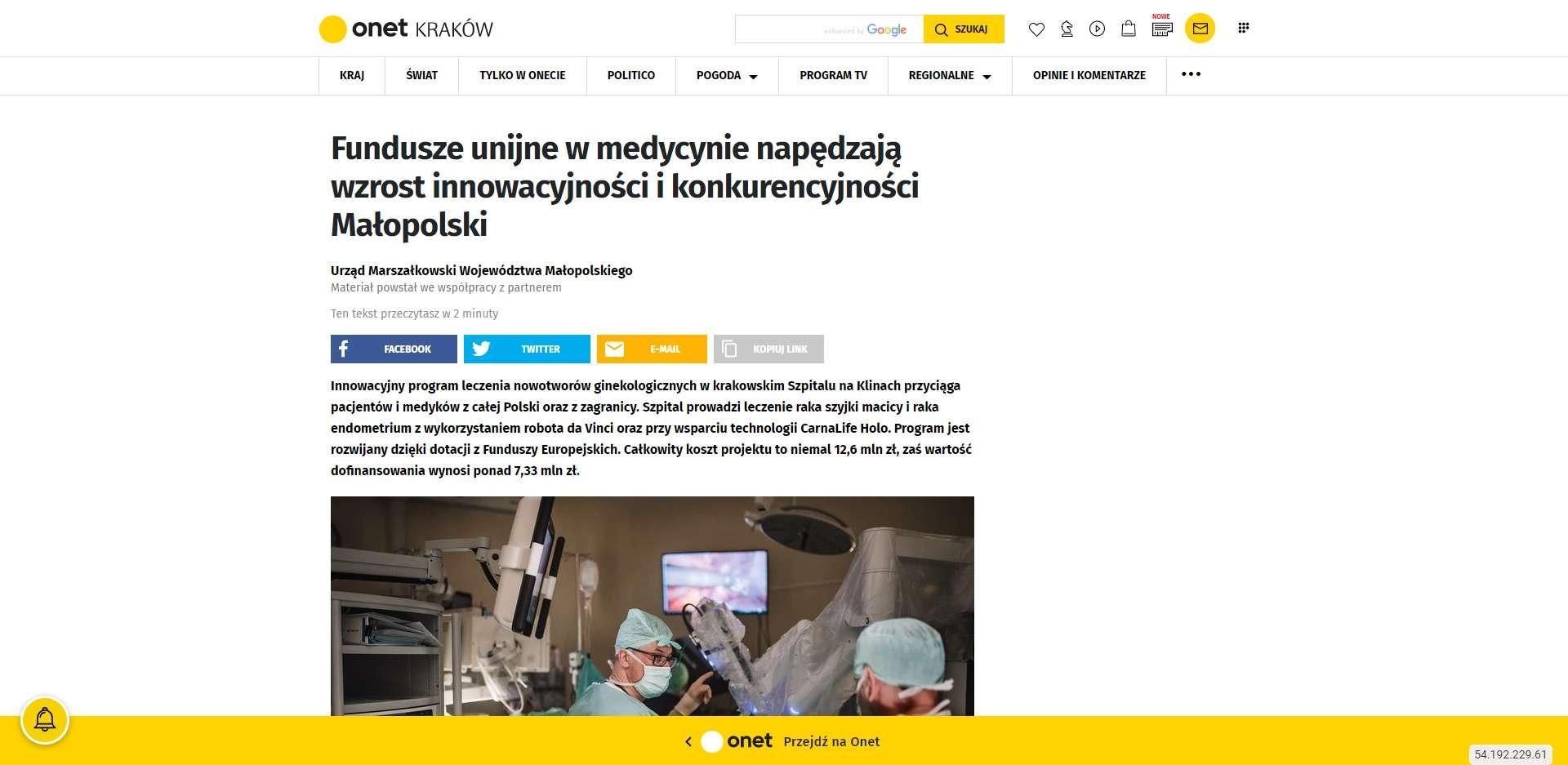fundusze unijne w medycynie napedzaja wzrost innowacyjnosci i konkurencyjnosci malopolski