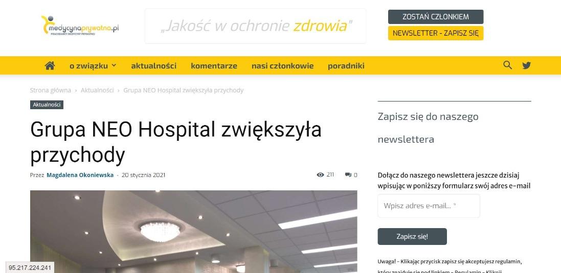 grupa neo hospital zwiekszyla przychody