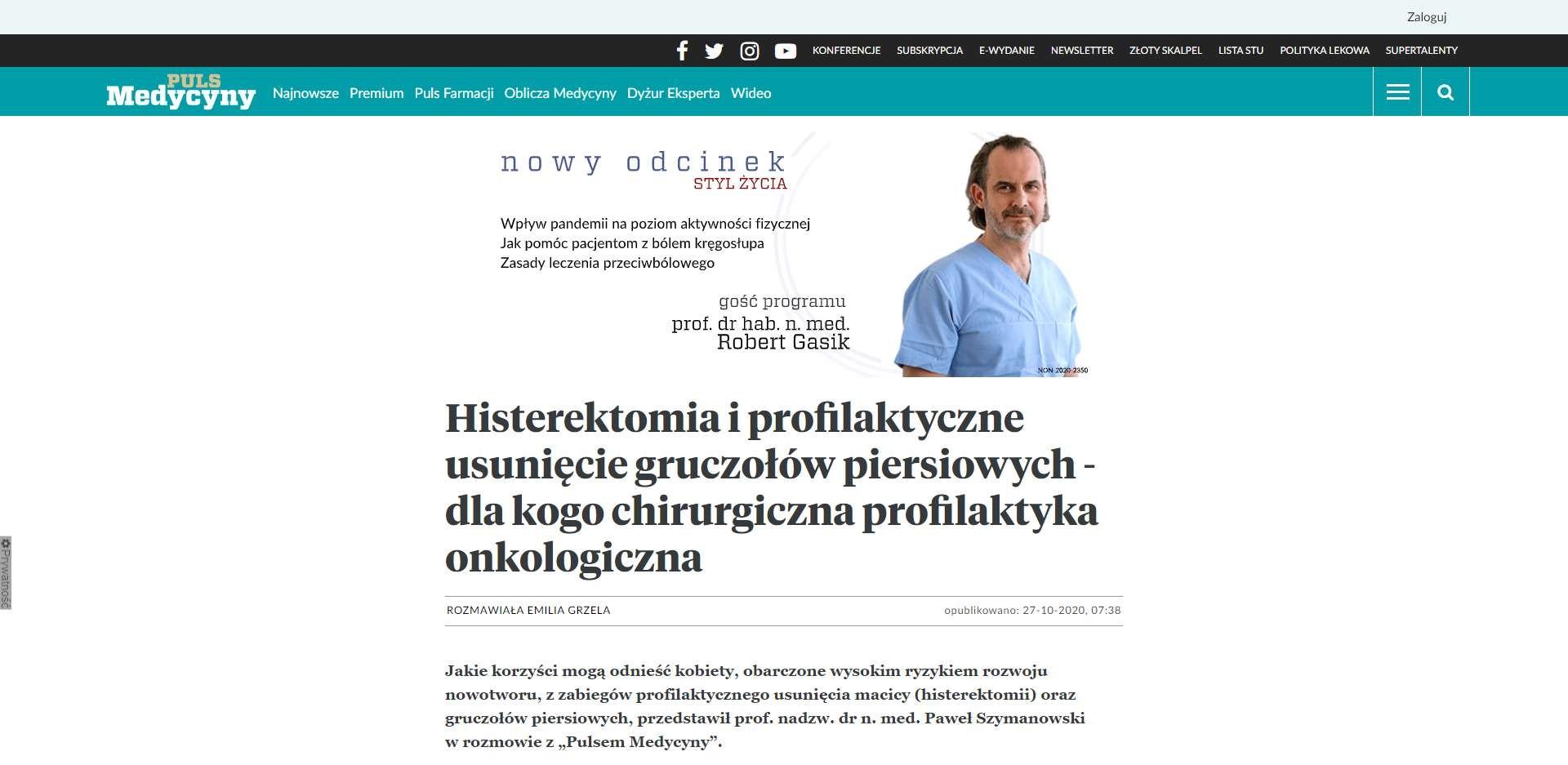 histerektomia i profilaktyczne usuniecie gruczolow piersiowych dla kogo chirurgiczna profilaktyka onkologiczna