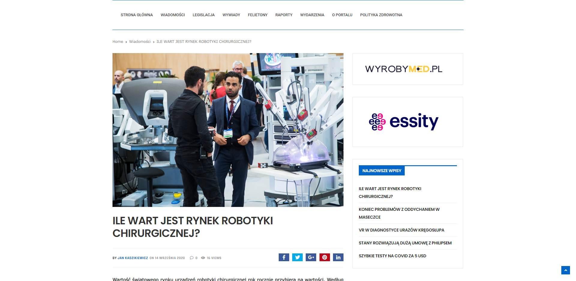 ile wart jest rynek robotyki chirurgicznej