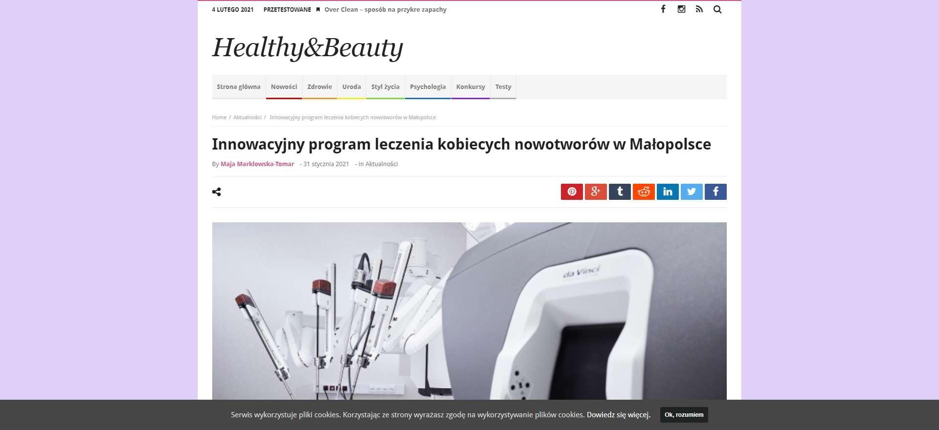 innowacyjny program leczenia kobiecych nowotworow w malopolsce