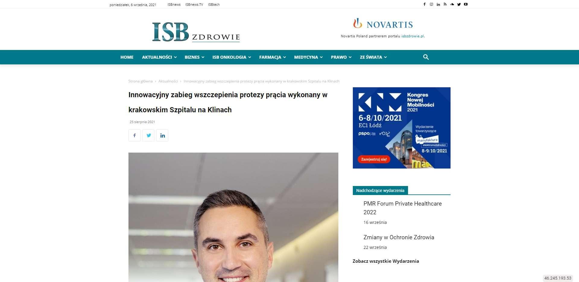 innowacyjny zabieg wszczepienia protezy pracia wykonany w krakowskim szpitalu na klinach