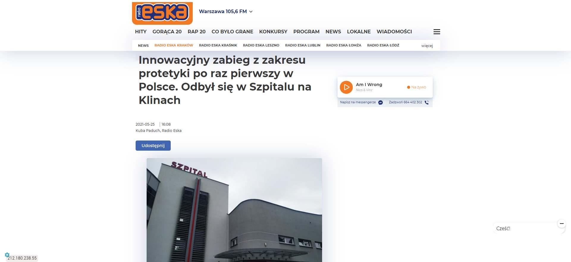 innowacyjny zabieg z zakresu protetyki po raz pierwszy w polsce odbyl sie w szpitalu na klinach