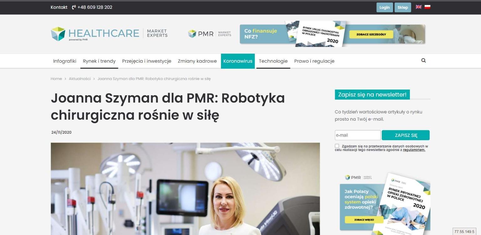joanna szyman dla pmr robotyka chirurgiczna rosnie w sile