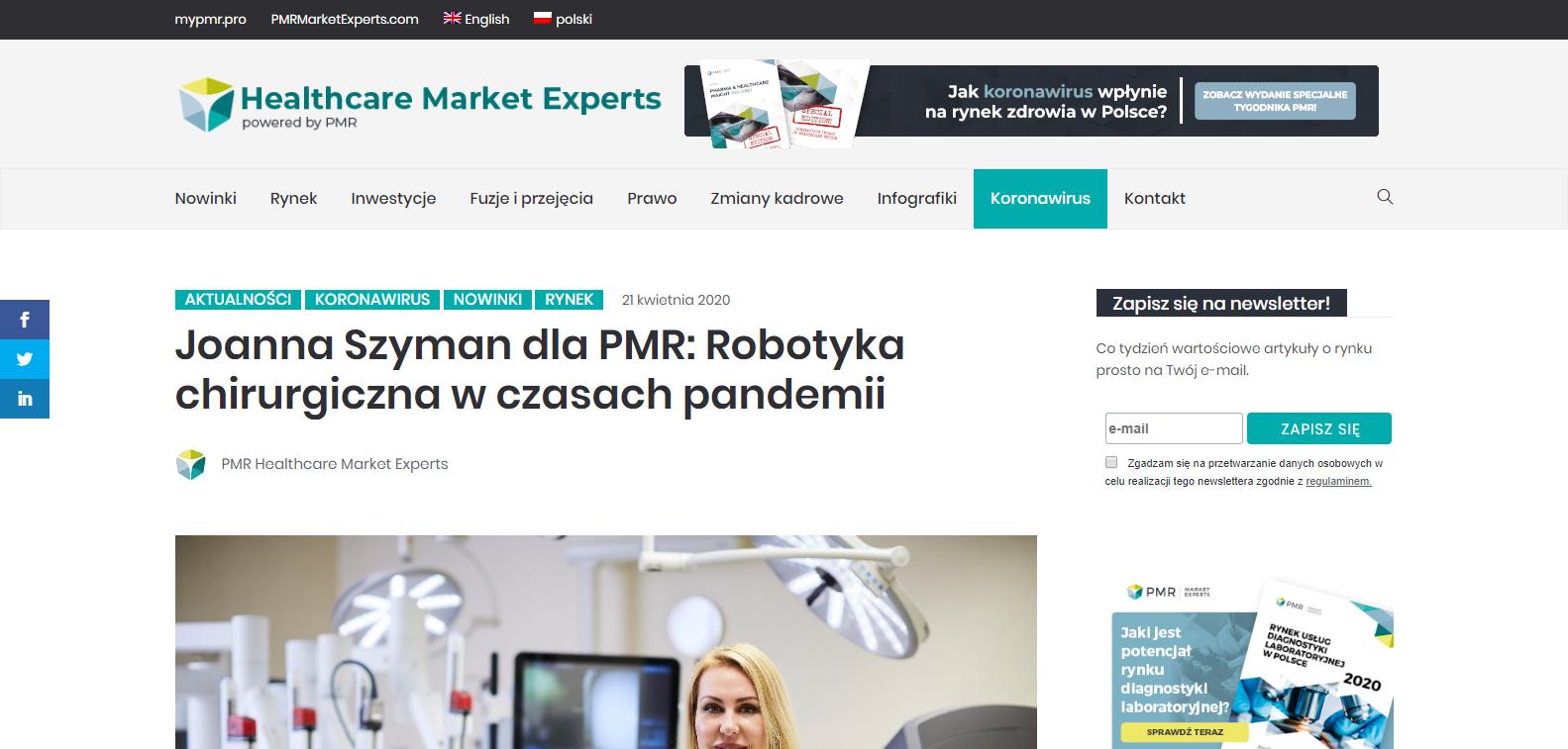 Joanna Szyman dla PMR Robotyka chirurgiczna w czasach pandemii