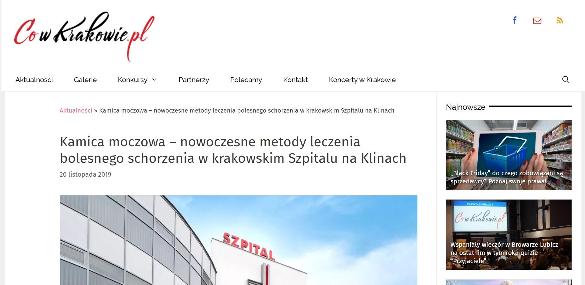 Kamica moczowa – nowoczesne metody leczenia bolesnego schorzenia w krakowskim Szpitalu na Klinach