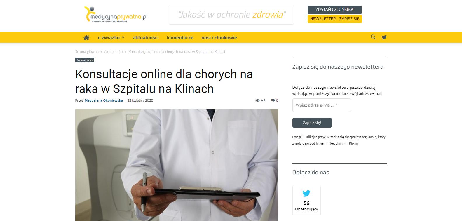 Konsultacje online dla chorych na raka w Szpitalu na Klinach