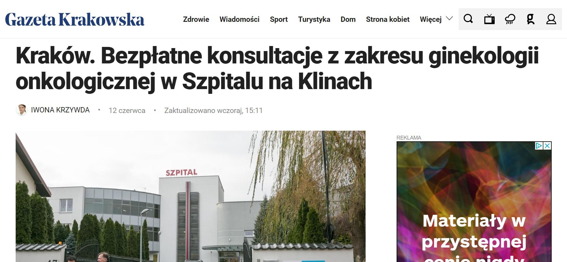 Kraków. Bezpłatne konsultacje z zakresu ginekologii onkologicznej w Szpitalu na Klinach