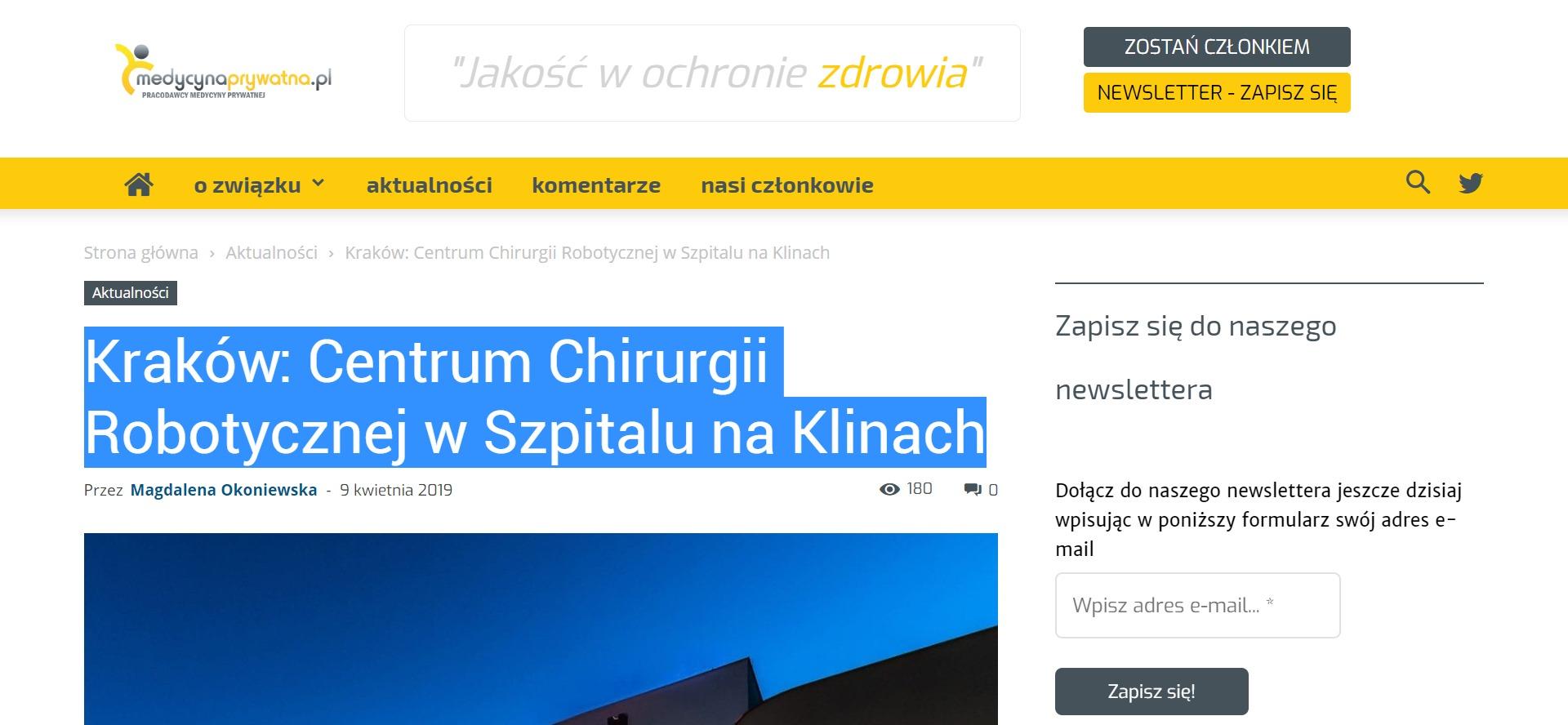 Kraków: Centrum Chirurgii Robotycznej w Szpitalu na Klinach