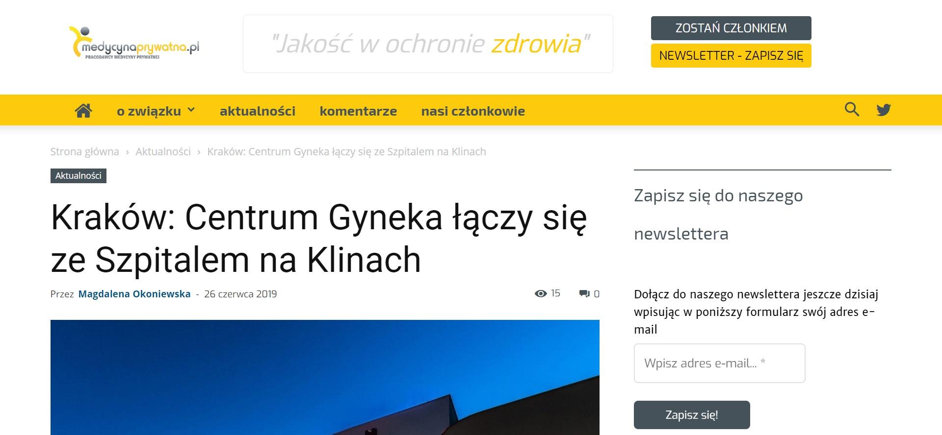 Centrum Zdrowia Kobiety Gyneka z Krakowa od maja 2019 funkcjonuje w krakowskim Szpitalu na Klinach, działającym od listopada 2018 roku przy ulicy Kostrzewskiego, w krakowskiej dzielnicy Kliny Zacisze.