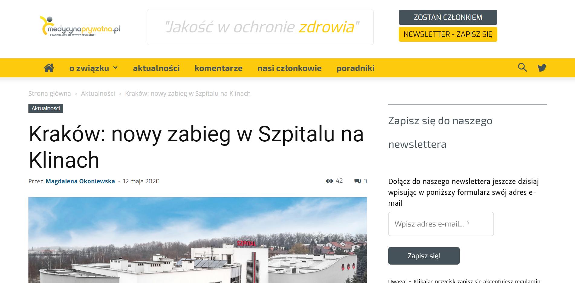 Kraków: nowy zabieg w Szpitalu na Klinach