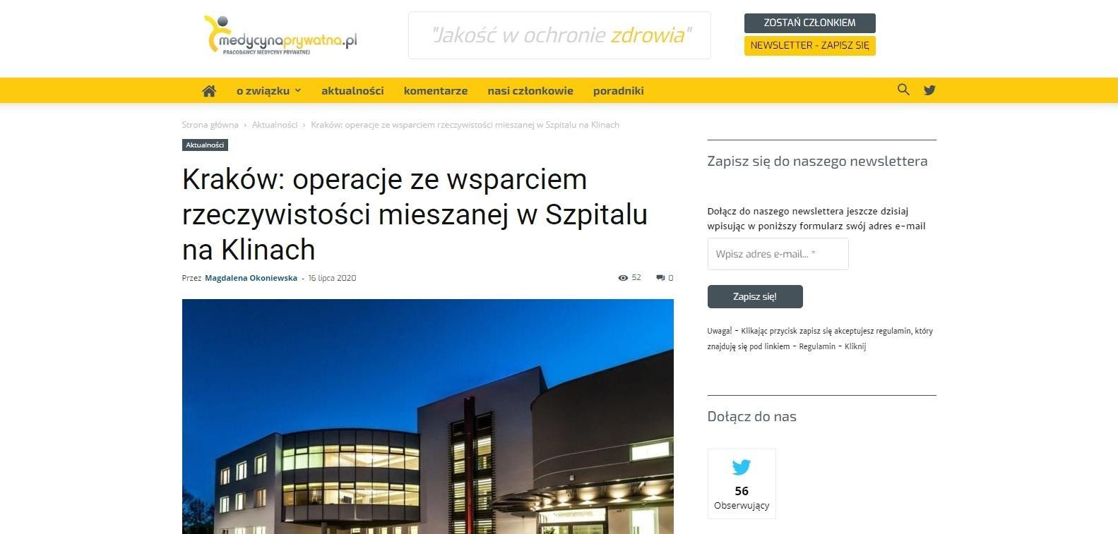 krakow operacje ze wsparciem rzeczywistosci mieszanej w szpitalu na klinach