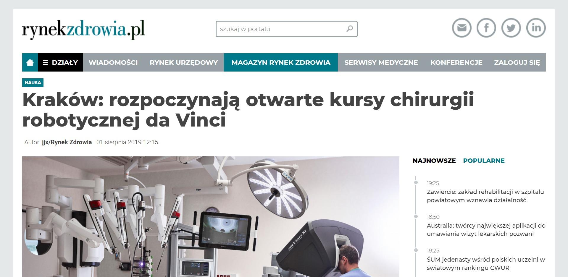 Kraków rozpoczynają otwarte kursy chirurgii robotycznej da Vinci