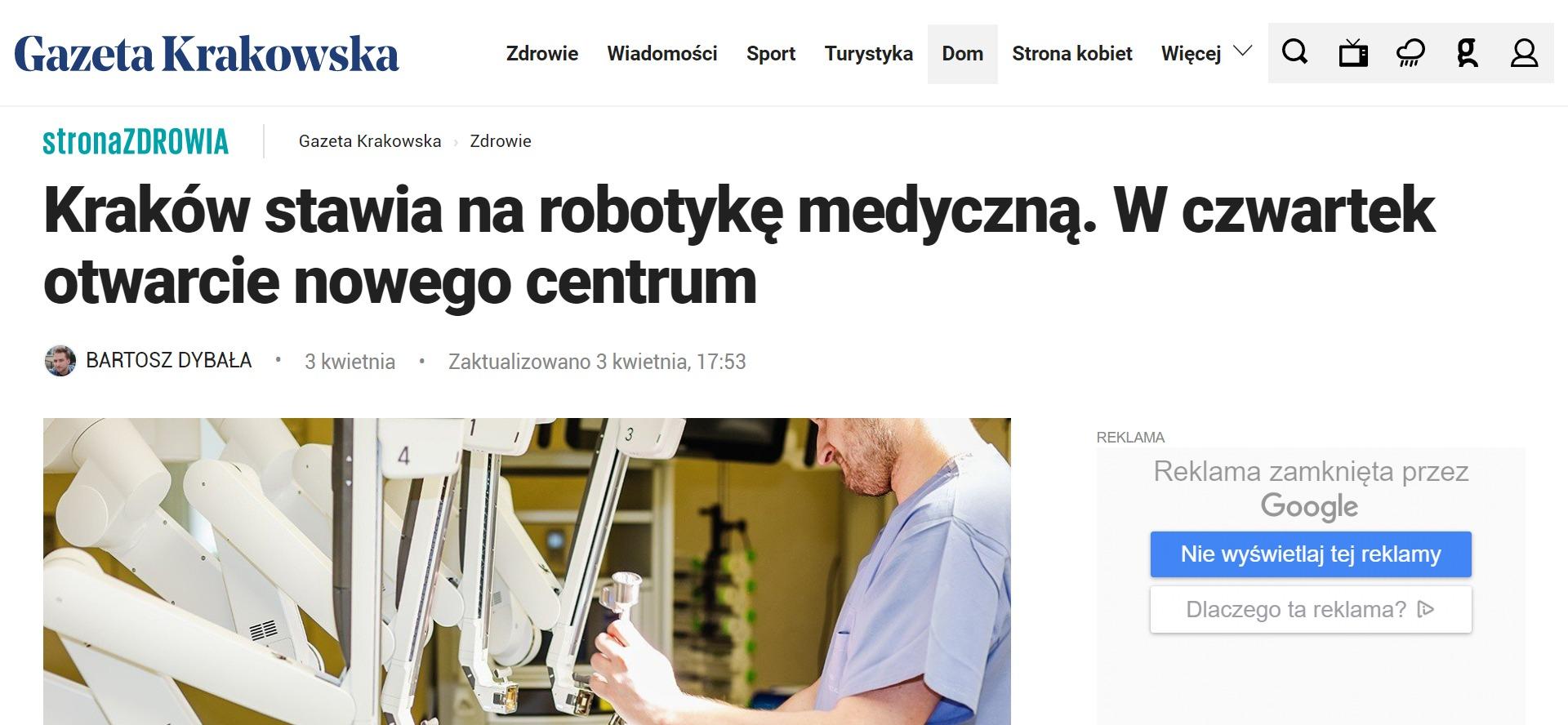 Kraków stawia na robotykę medyczną. W czwartek otwarcie nowego centrum