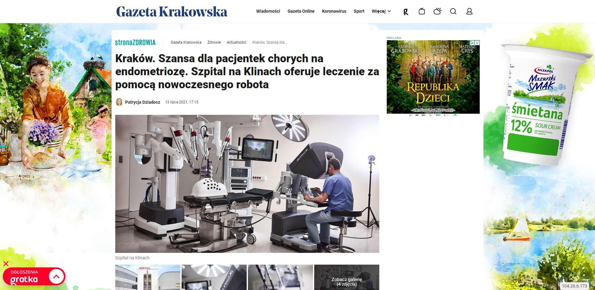 krakow szansa dla pacjentek chorych na endometrioze szpital na klinach oferuje leczenie za pomoca nowoczesnego robota