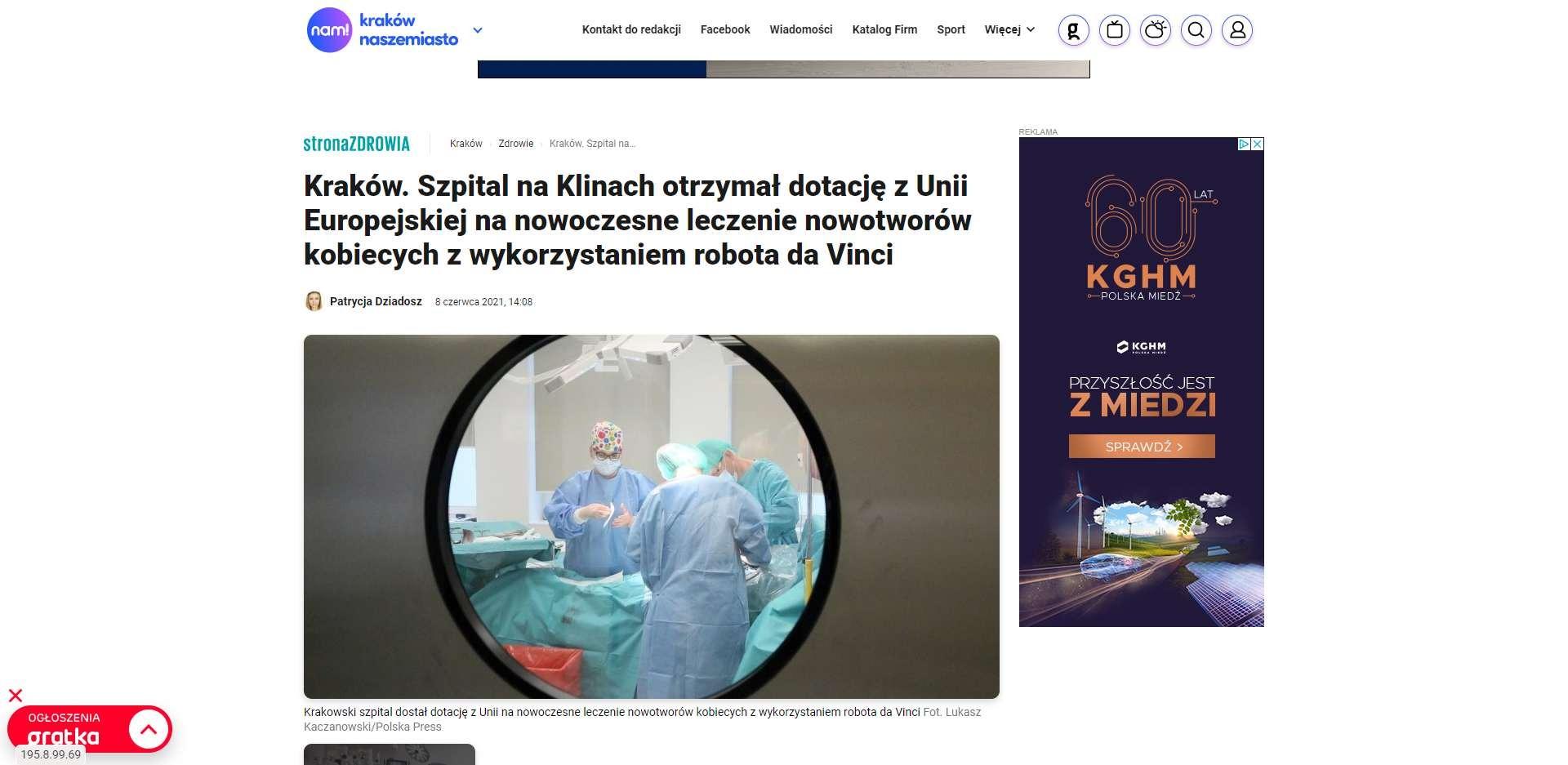 krakow szpital na klinach otrzymal dotacje z unii europejskiej na nowoczesne leczenie nowotworow kobiecych z wykorzystaniem robota da vinci
