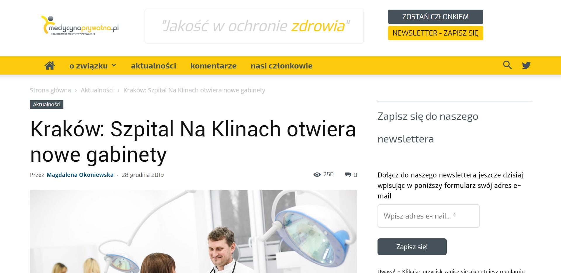 Kraków Szpital Na Klinach otwiera nowe gabinety