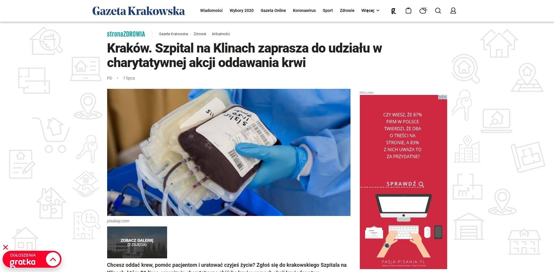 krakow szpital na klinach zaprasza do udzialu w charytatywnej akcji oddawania krwi