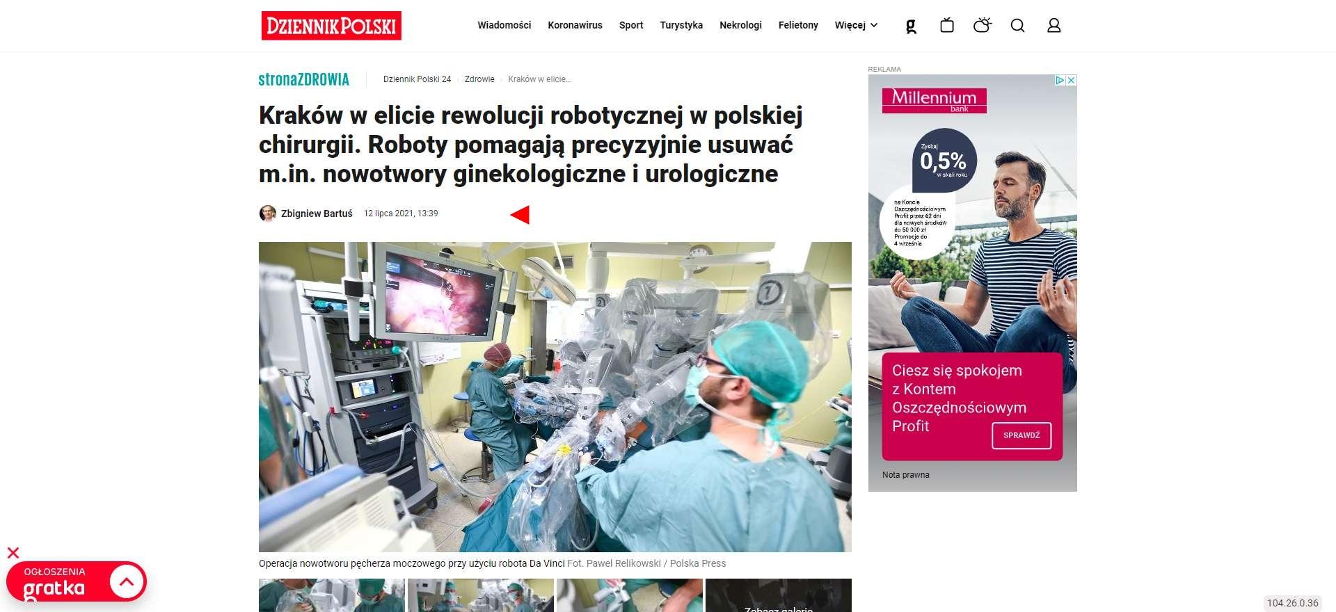 krakow w elicie rewolucji robotycznej w polskiej chirurgii roboty pomagaja precyzyjnie usuwac min nowotwory ginekologiczne i urologiczne