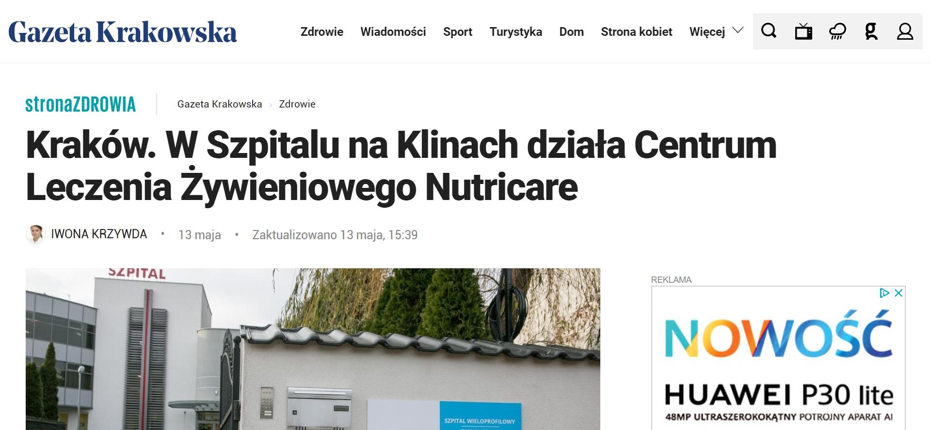 Kraków. W Szpitalu na Klinach działa Centrum Leczenia Żywieniowego Nutricare