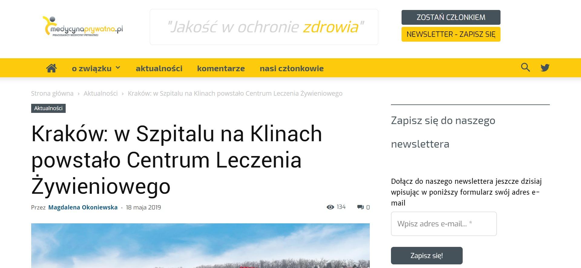 Kraków w Szpitalu na Klinach powstało Centrum Leczenia Żywieniowego