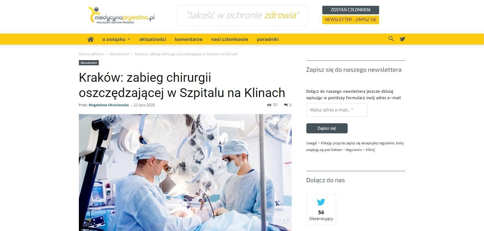 krakow zabieg chirurgii oszczedzajacej w szpitalu na klinach
