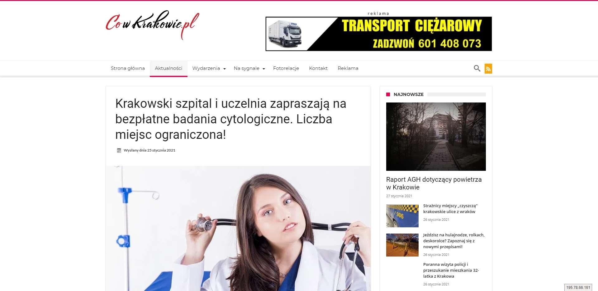 krakowski szpital i uczelnia zapraszaja na bezplatne badania cytologiczne liczba miejsc ograniczona