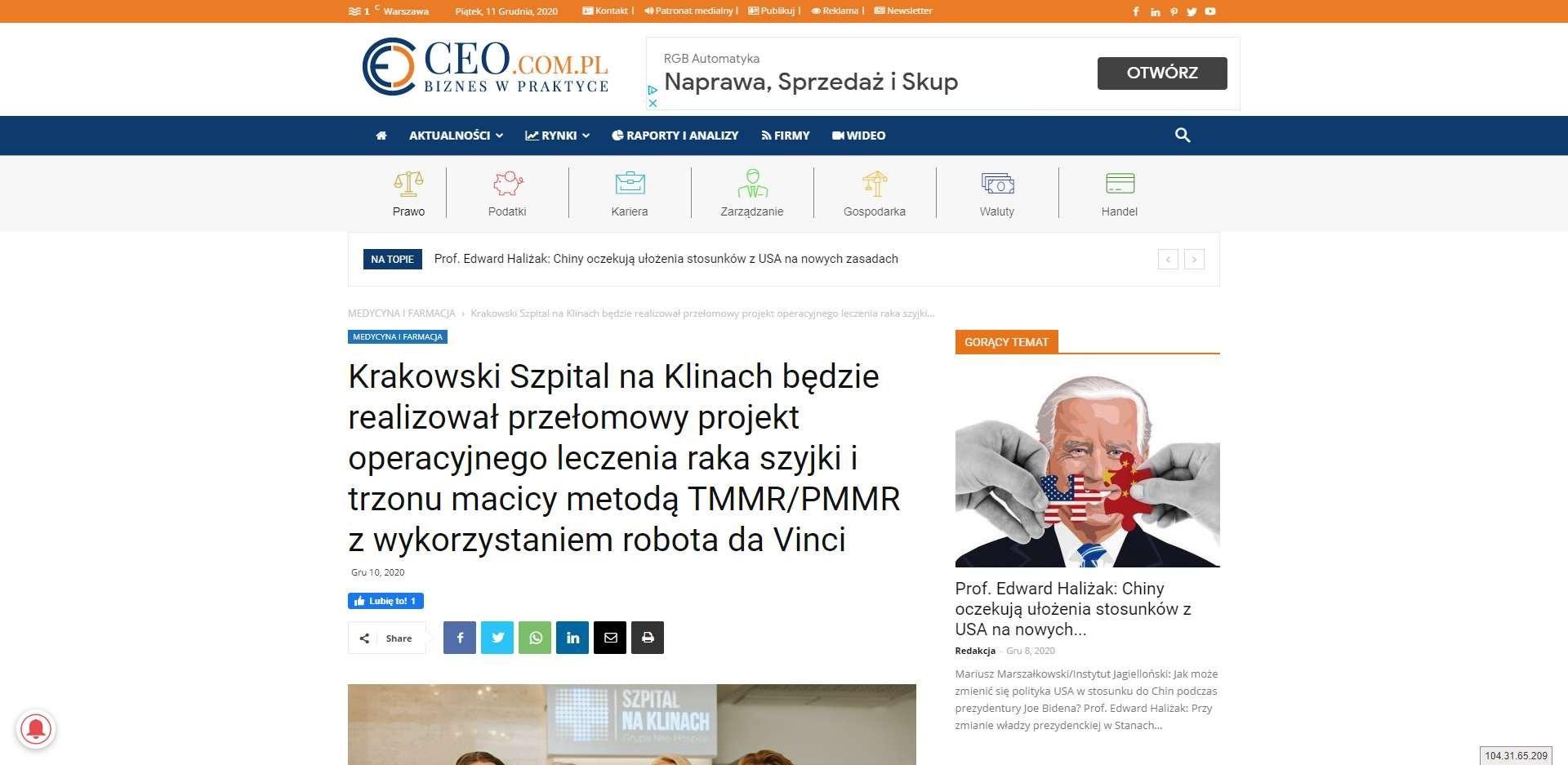 krakowski szpital na klinach bedzie realizowal przelomowy projekt operacyjnego leczenia raka szyjki i trzonu macicy metoda tmmr pmmr z wykorzystaniem robota da vinci