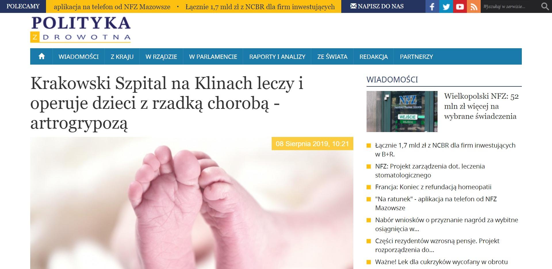 Krakowski Szpital na Klinach leczy i operuje dzieci z rzadką chorobą - artrogrypozą