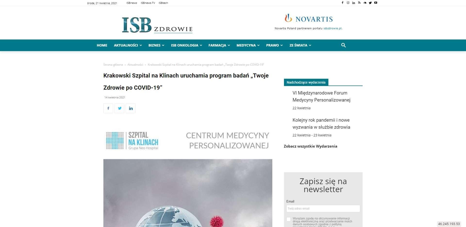 krakowski szpital na klinach uruchamia program badan twoje zdrowie po covid