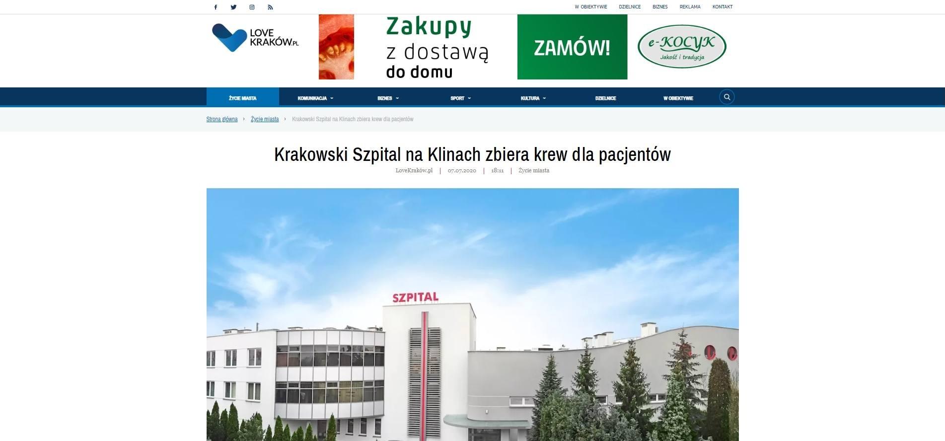 krakowski szpital na klinach zbiera krew dla pacjentow