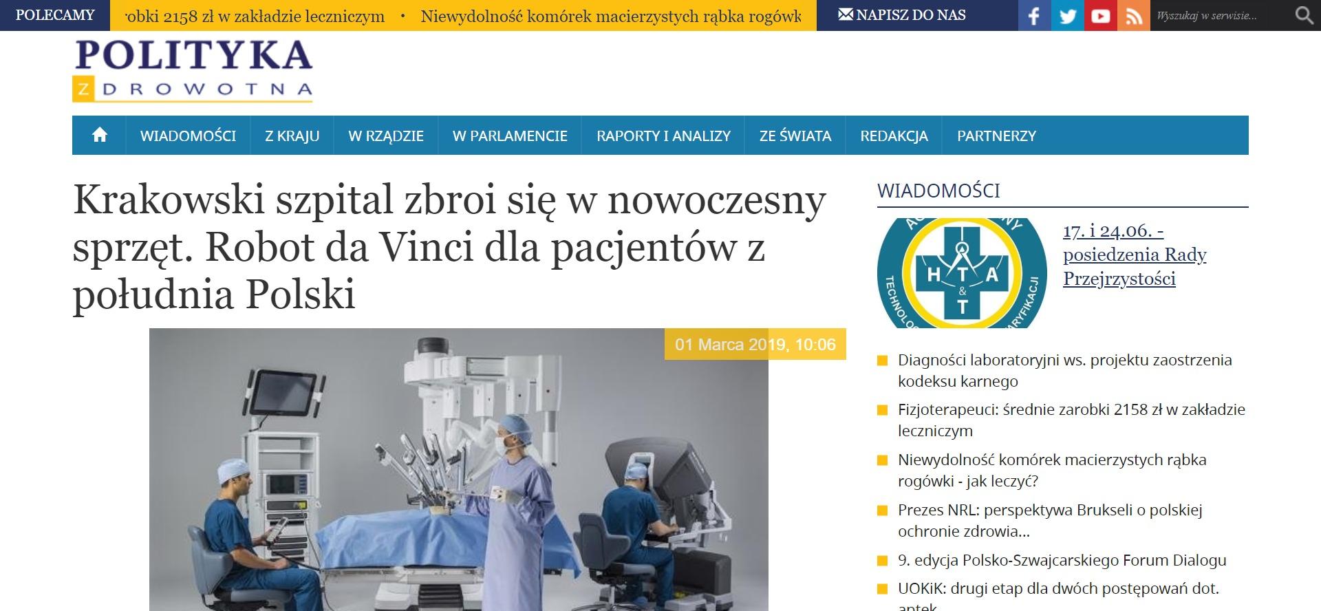Krakowski szpital zbroi się w nowoczesny sprzęt. Robot da Vinci dla pacjentów z południa Polski
