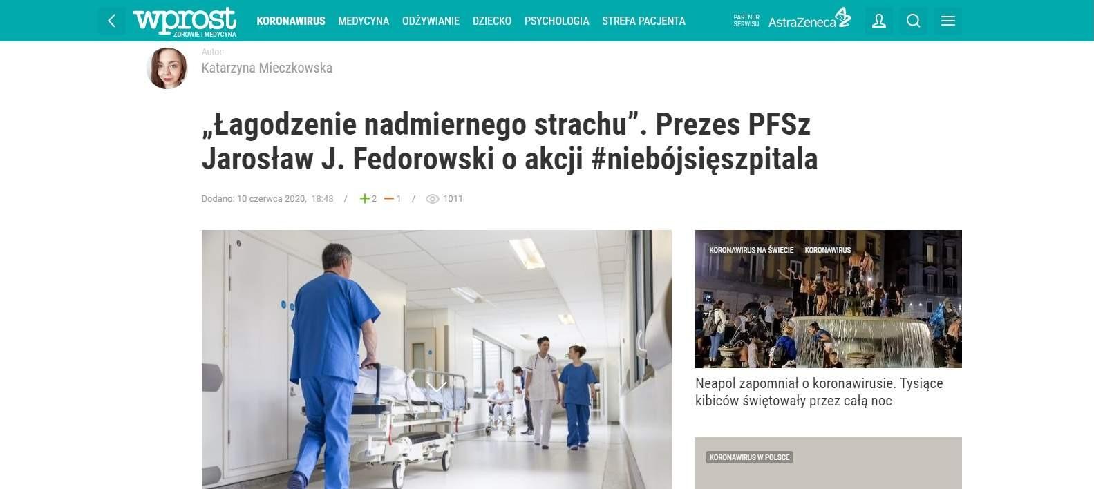 """""""Łagodzenie nadmiernego strachu"""". Prezes PFSz Jarosław J. Fedorowski o akcji #niebójsięszpitala"""
