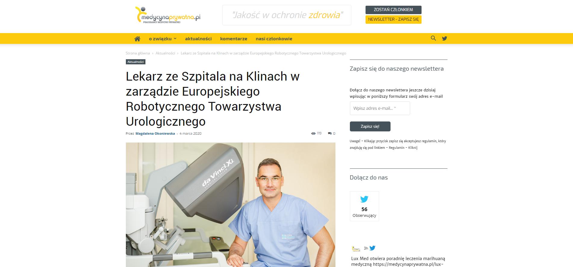 Lekarz ze Szpitala na Klinach w zarządzie Europejskiego Robotycznego Towarzystwa Urologiczneg