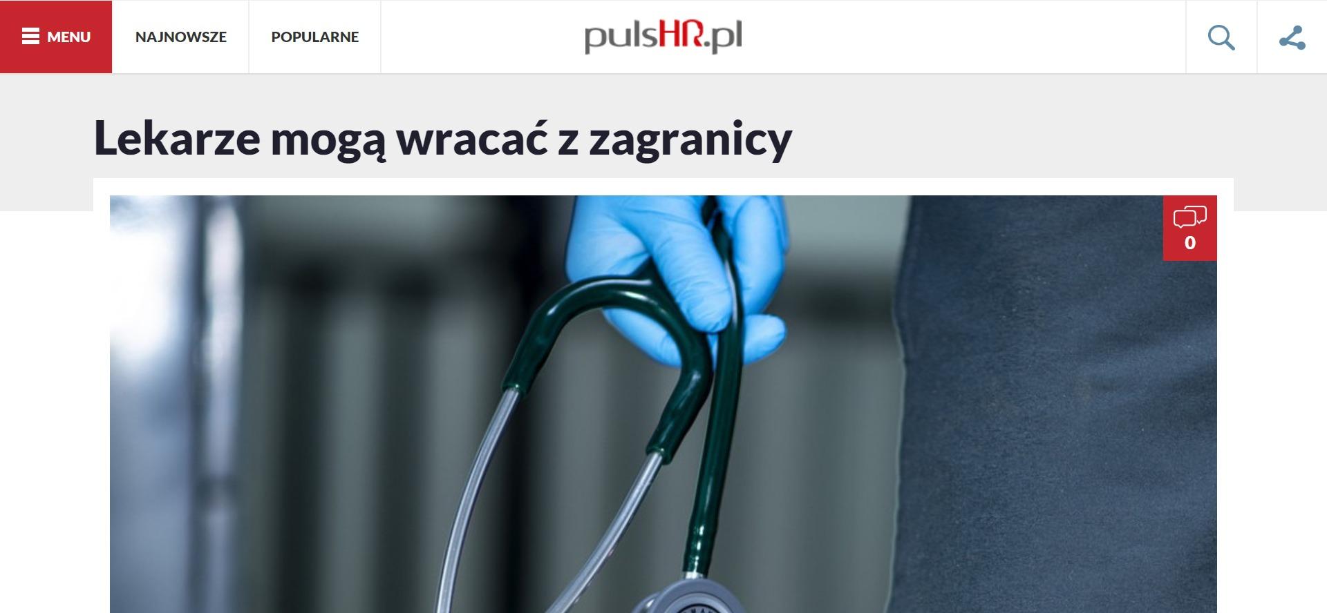 Lekarze mogą wracać z zagranicy