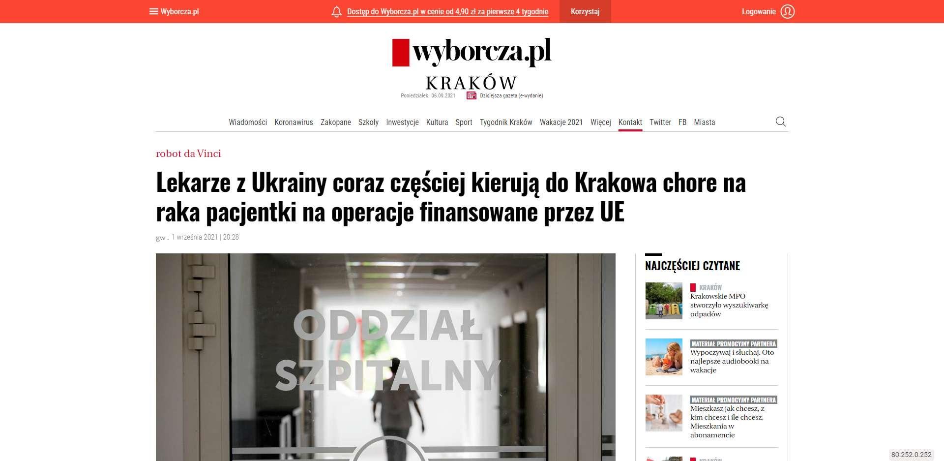 lekarze z ukrainy coraz czesciej kieruja do krakowa chore na raka pacjentki na operacje finansowane przez ue